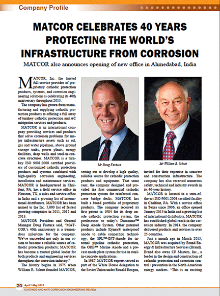 MATCOR Profile in Coatings and Anti-Corrosion Engineering Review, Apr/May 2015 issue