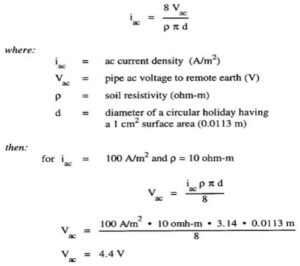 This formula shows how to calculate current density for a given holiday size; our example is based on a holiday surface area of 1cm².