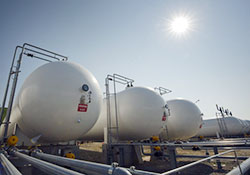 Propane storage tanks at MarkWest Energy Partners' Houston fractionation and marketing complex in Washington, Pennsylvania.